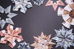 Money Origami snowflake. Snowflake origami made of banknotes rubles. Handmade Royalty Free Stock Image