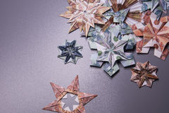 Money Origami snowflake. Snowflake origami made of banknotes rubles. Handmade Stock Images