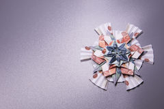 Money Origami snowflake. Snowflake origami made of banknotes rubles. Handmade Royalty Free Stock Photos