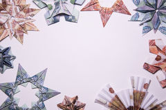 Money Origami snowflake. Snowflake origami made of banknotes rubles. Handmade Royalty Free Stock Photo