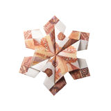 Money Origami snowflake. Snowflake origami made of banknotes on a white background. Handmade Royalty Free Stock Photos