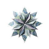Money Origami snowflake. Snowflake origami made of banknotes on a white background. Handmade Stock Photo