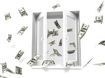 Money out the window. Money flying out the window Stock Photo