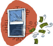 Money Out the Window Royalty Free Stock Images
