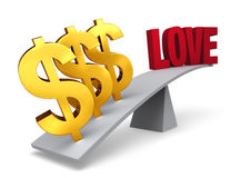 Money Outweighs Love. Three bright, gold dollar signs weigh one end of a gray balance beam down while a red LOVE sits high in the air on the other end. Focus is Royalty Free Stock Photography