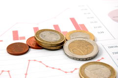 Money over business chart shows success Royalty Free Stock Photo
