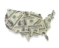 Money Overlaying the United States. A photo of 100 bills overlaying a map of the United States Royalty Free Stock Photos