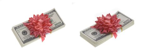 Money packages with paper decoration. Royalty Free Stock Photography