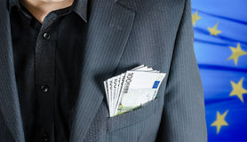 Money in packet. Man has enveloped euro banknotes Royalty Free Stock Photography