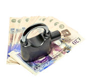 Money and padlock - safety concept Royalty Free Stock Image