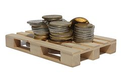 Money on pallet isolated Stock Images