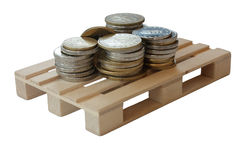 Money on pallet isolated Royalty Free Stock Images
