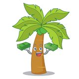 With money palm tree character cartoon Royalty Free Stock Images