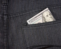 Money in pant pocket Royalty Free Stock Photography