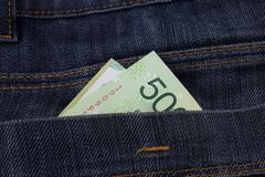 Argentine 500 pesos in jeans pockets Royalty Free Stock Photo