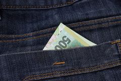 Argentine 500 pesos in jeans pockets Royalty Free Stock Images