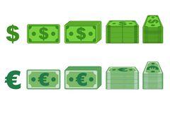 Money paper Dollar and Euro Vectors in different positions isolated on separate layers. Flat design. Vector Game element stock illustration