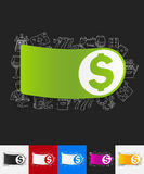 Money paper sticker with hand drawn elements. Hand drawn simple elements with money paper sticker shadow Royalty Free Stock Image