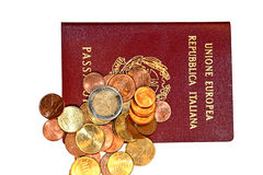 Money and Passaport. EU money and passport Stock Photography