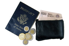 Money and passport. US passport, wallet, and Mexican pesos on white background stock photography