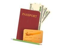 Money with passport book scene Royalty Free Stock Image