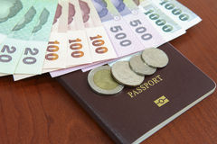 Money with Passport. On the table Stock Photos