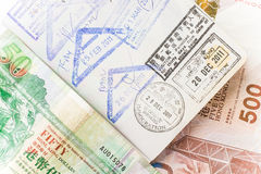 Money and passport Stock Images