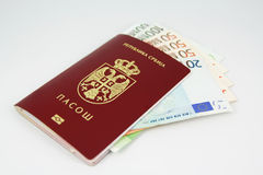Money and passport Royalty Free Stock Photography