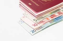 Money and passports Royalty Free Stock Images