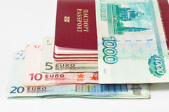 Money and passports Royalty Free Stock Photography