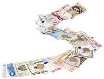 Money path. Pathway of different money currency isolated with clipping path Royalty Free Stock Images