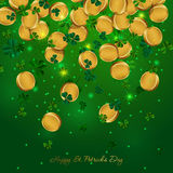 Money Patricks Day. Vector Illustration of a St. Patricks Day Background. Background with falling golden coins and clover Royalty Free Stock Photos