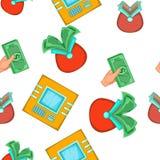 Money pattern, cartoon style. Money pattern. Cartoon illustration of money vector pattern for web Stock Images