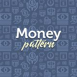 Money pattern illustration with vector outline simple flat icons on texture background. Vector flat pattern simple background Stock Image