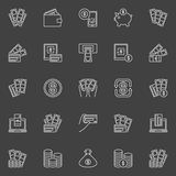 Money and Payment line icons. Vector financial minimal outline symbols on dark background Royalty Free Stock Photography