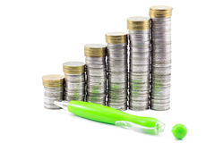 Money and a pen. Background bank banking business cash coin corporate currency earning economic finance financial gold good growth Royalty Free Stock Photo