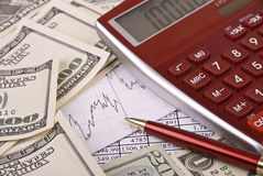 Money, pen and calculator Royalty Free Stock Images
