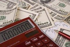 Money, pen and calculator Royalty Free Stock Photos