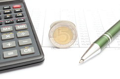 Money, pen and calculator lying on spreadsheet Stock Photos