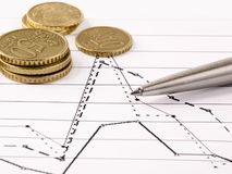 Money, pen and graph