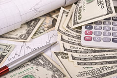 Money, pen, graph and calculator Royalty Free Stock Images