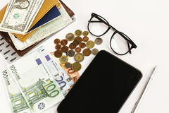 money pen paper tablet and glasses on white background, calculating budget, currency balance, travel concept stock photos