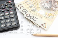 Money, pencil and calculator lying on spreadsheet Stock Photography