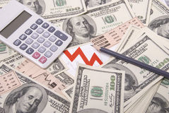 Money, pencil, graph and calculator Royalty Free Stock Photo