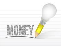 Money and pencil light bulb illustration design Stock Image