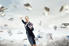 Money people and financial news concept . Mixed media Stock Photos