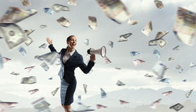 Money people and financial news concept . Mixed media Stock Images