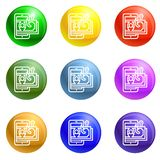 Money phishing icons set vector royalty free illustration