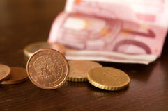 Money. A photo of a few cents and ten euros Stock Images