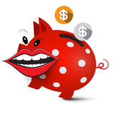 Money Pig. Crazy Piggy Bank. With Dollar Coins and Big Mouth Isolated on White Background Royalty Free Stock Photos